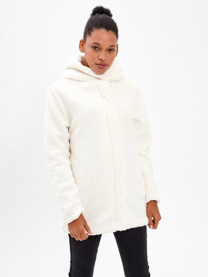 PILE COAT WITH HOOD
