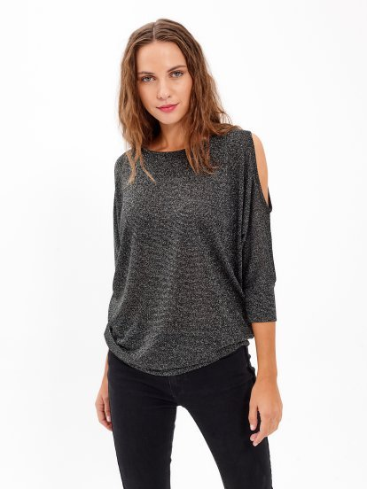 COLD SHOULDER METALLIC TOP