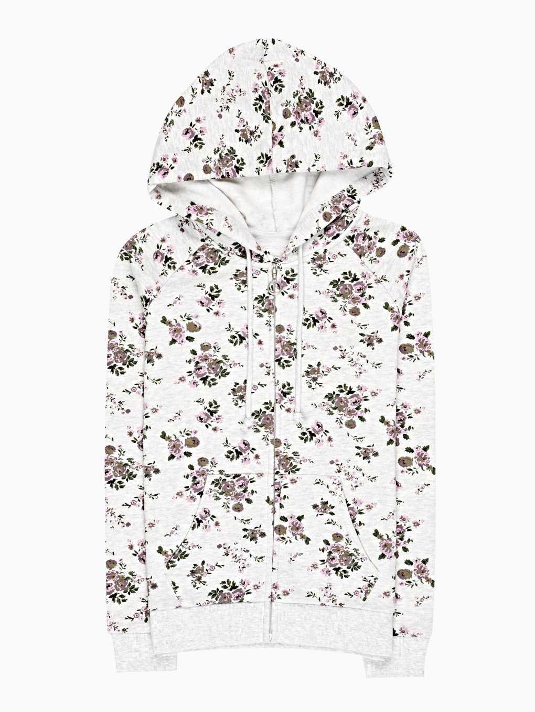 Flower print hoodie