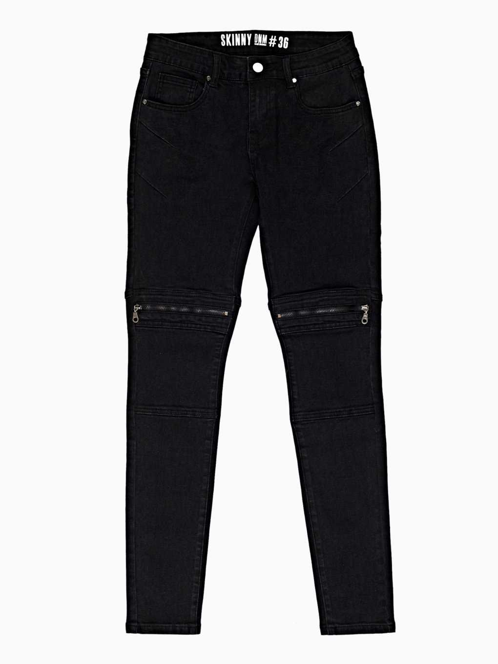 BIKER SKINNY JEANS IN BLACK WASH