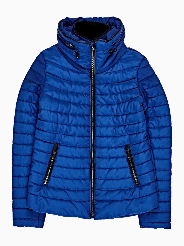 Prošívaná vatovaná bunda s vysokým límcem