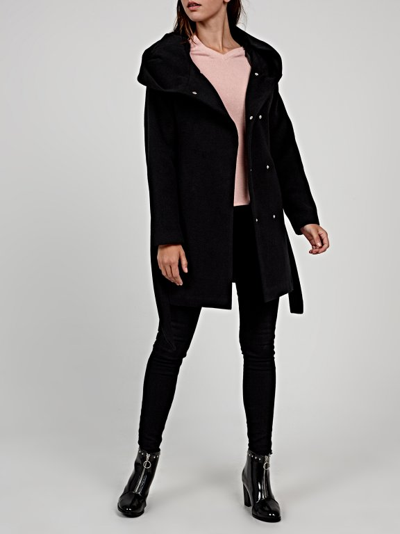 Hooded coat with belt