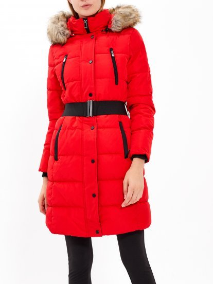 LONGLINE PADDED JACKET WITH BELT