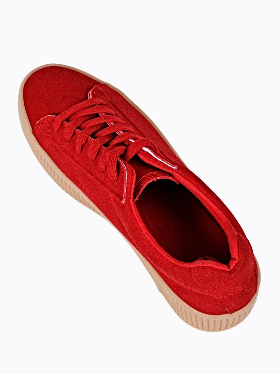 Faux suede platform sneakers