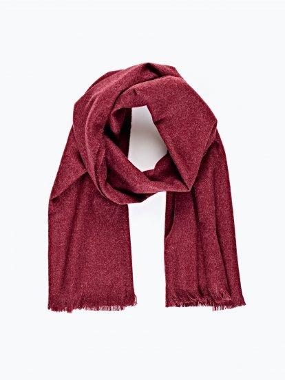 Basic marled scarf with fringe