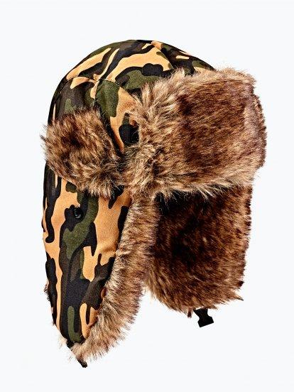 Camo print faux fur lined cap