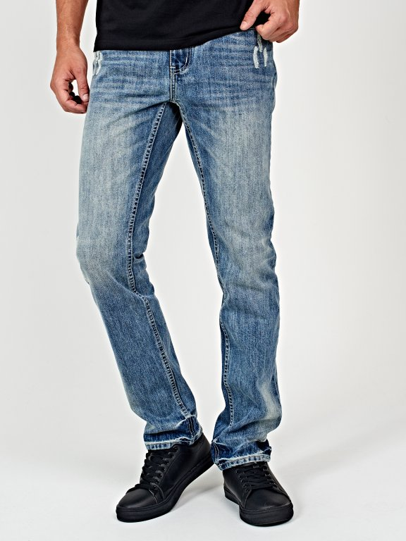 Straight fit jeans in mid blue wash