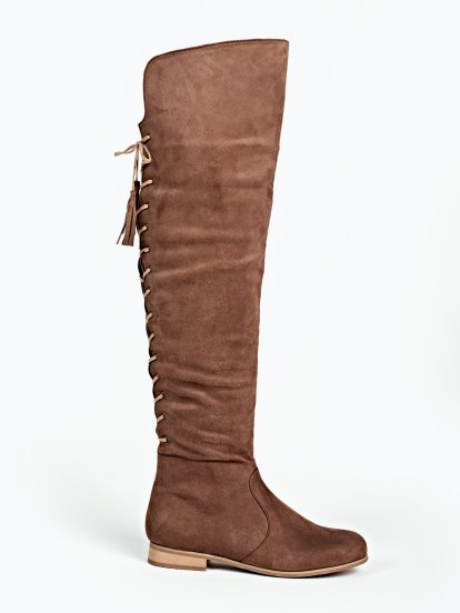Over the knee boots with back lacing