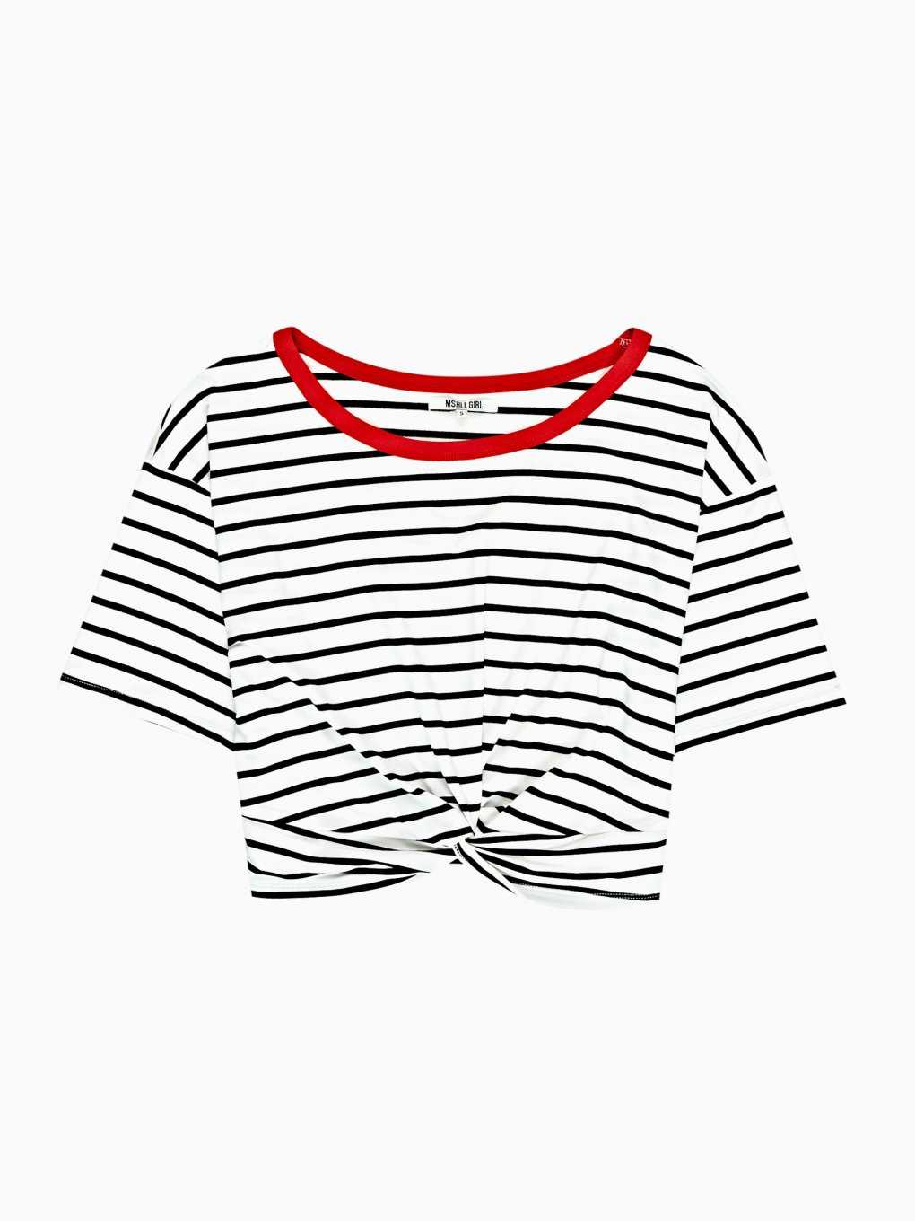 FRONT KNOT STRIPED CROP TOP