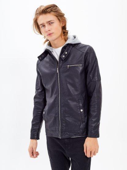 Motorkárska bunda s kapucňou z imitácie kože