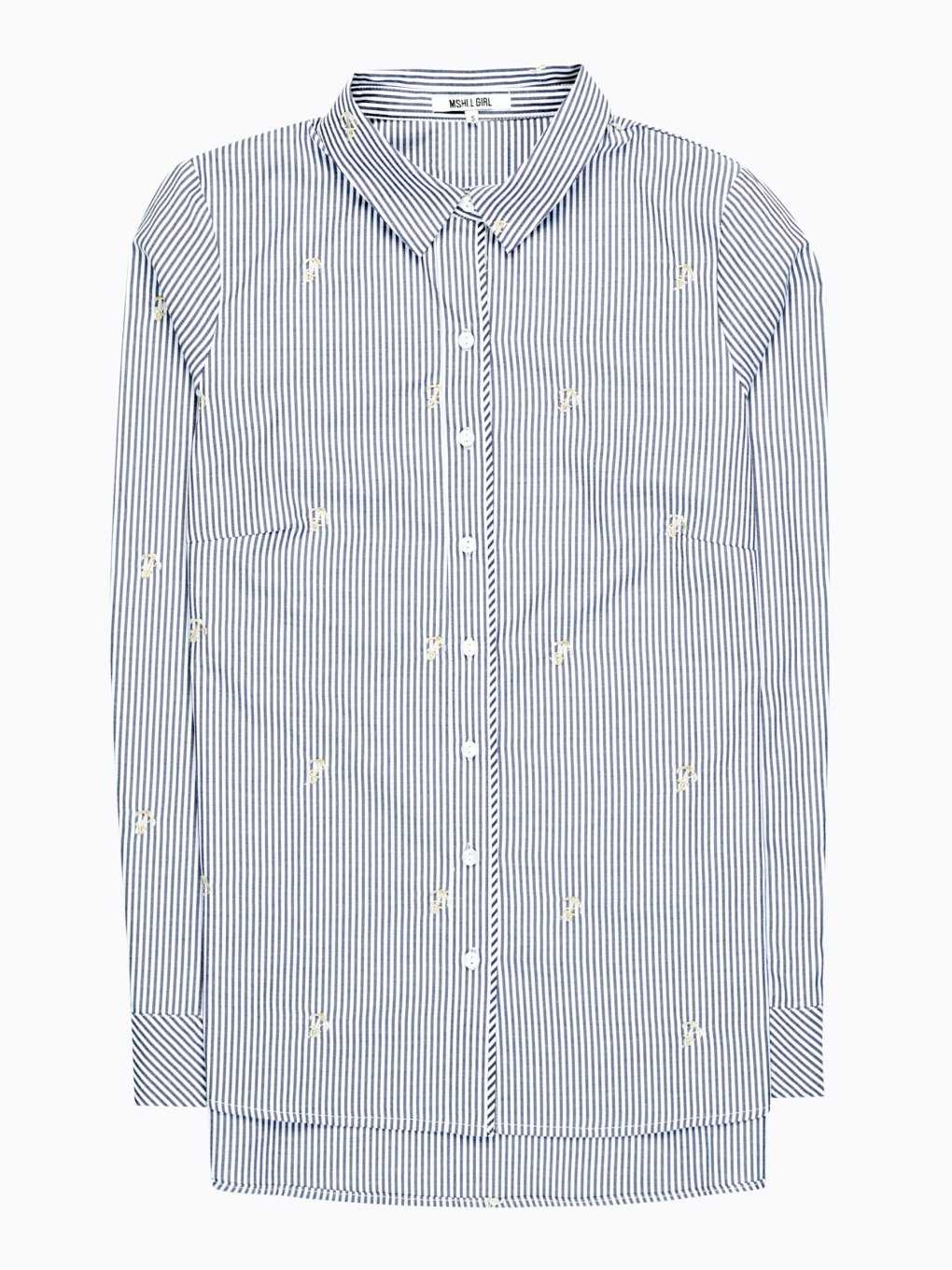 STRIPED SHIRT WITH ANCHOR EMBROIDERY