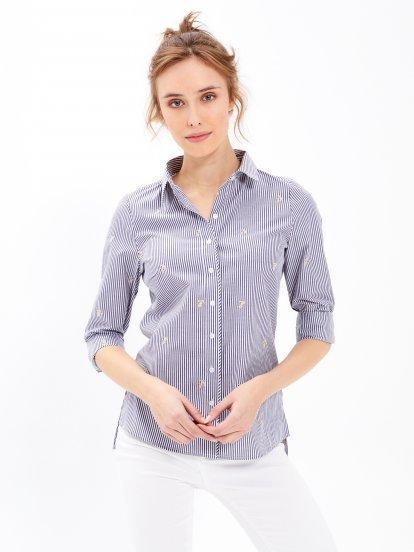 Prúžkovaná košeľa s kotvičkami