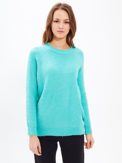 Plain ribbed jumper