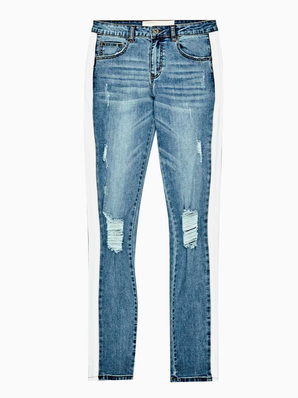 Taped straight slim fit distressed jeans