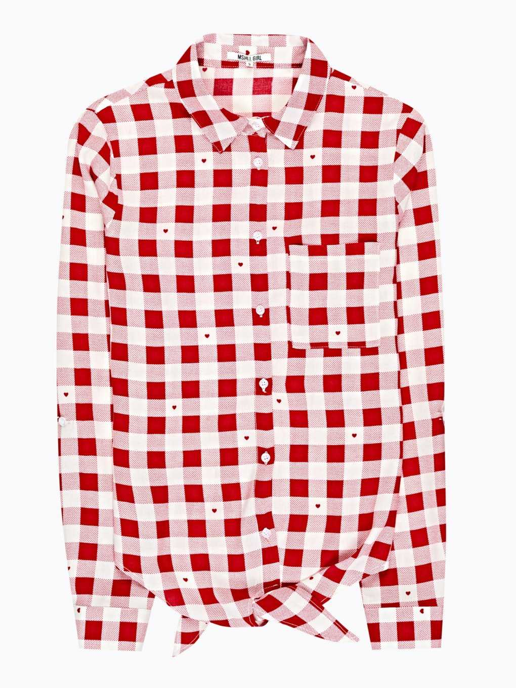 PLAID FRONT KNOT SHIRT