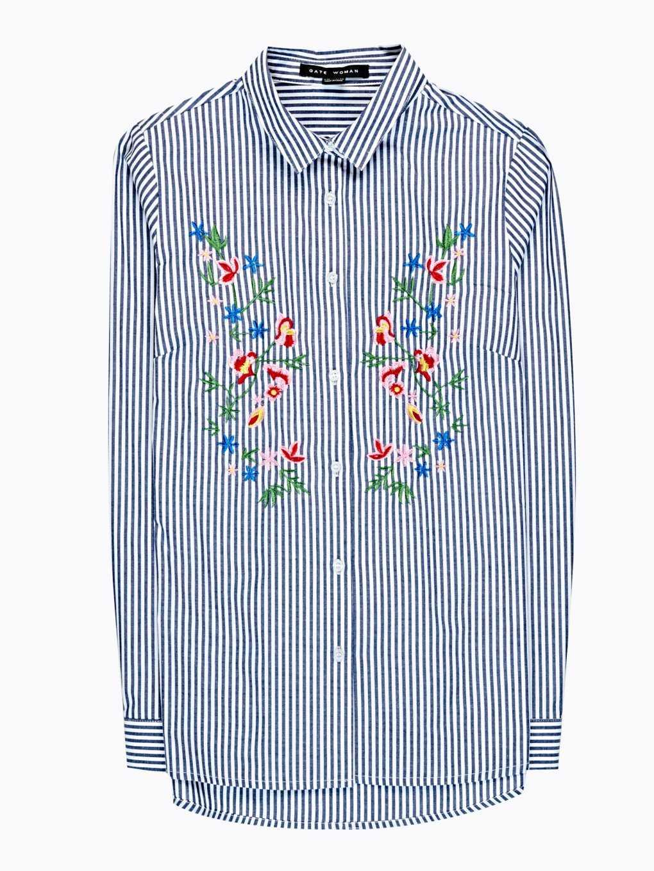 Proužkovaná košile s květinovou výšivkou