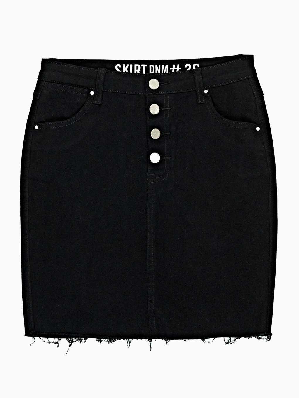 Denimová sukně s neopracovaným lemem