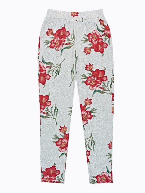 Spodnie dresowe z nadrukiem kwiatowym