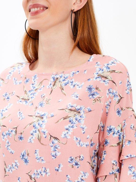 Bluzka z nadrukiem kwiatowym i drapowanym rękawem