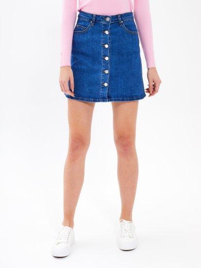 Button-up a-line denim skirt