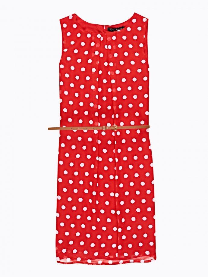 POLKA DOT PRINT SLEEVELESS DRESS WITH BELT