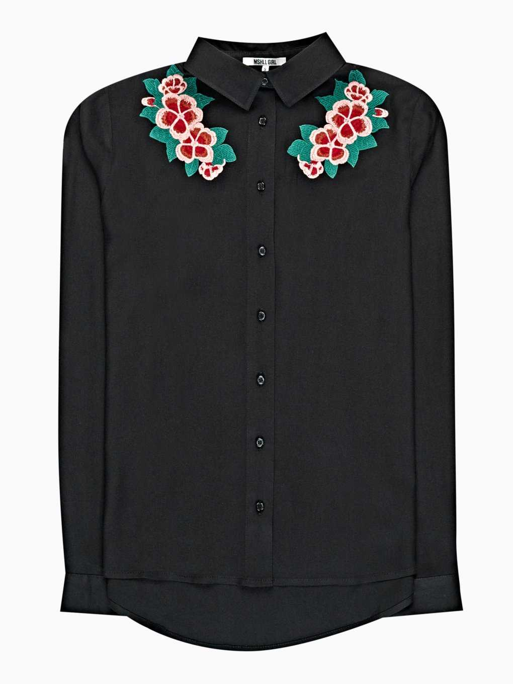 VISCOSE SHIRT WITH FLORAL EMROIDERY