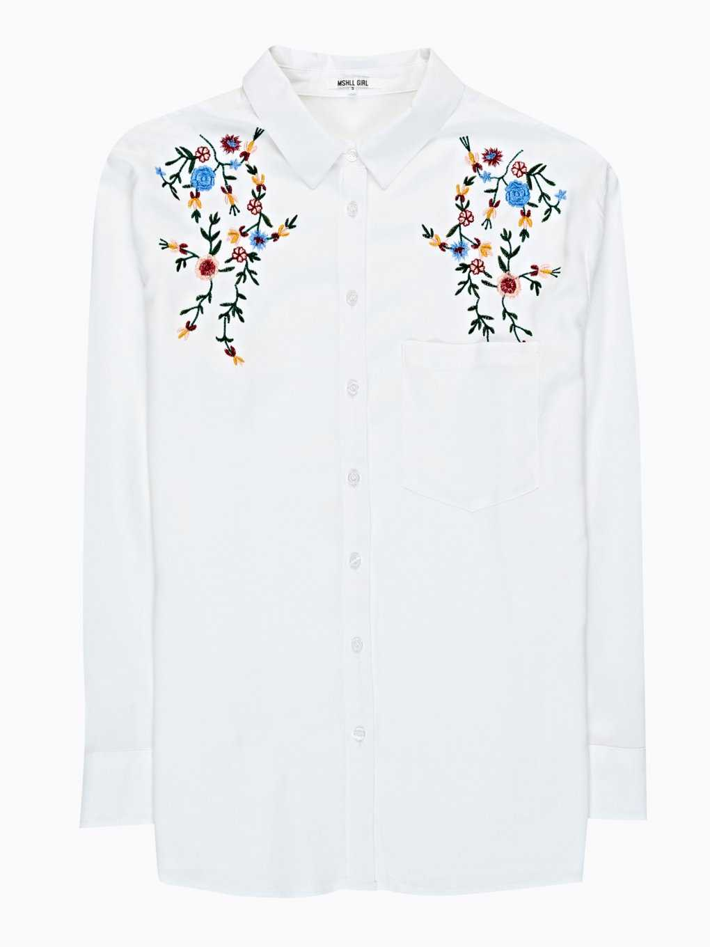 REGULAR SHIRT WITH FLORAL EMROIDERY