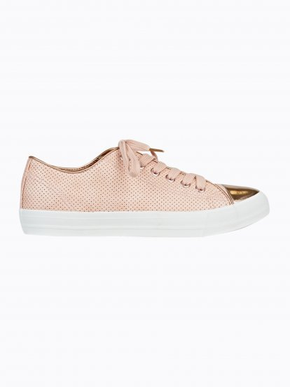PERFORATED SNEAKERS WITH METALLIC CAP TOE