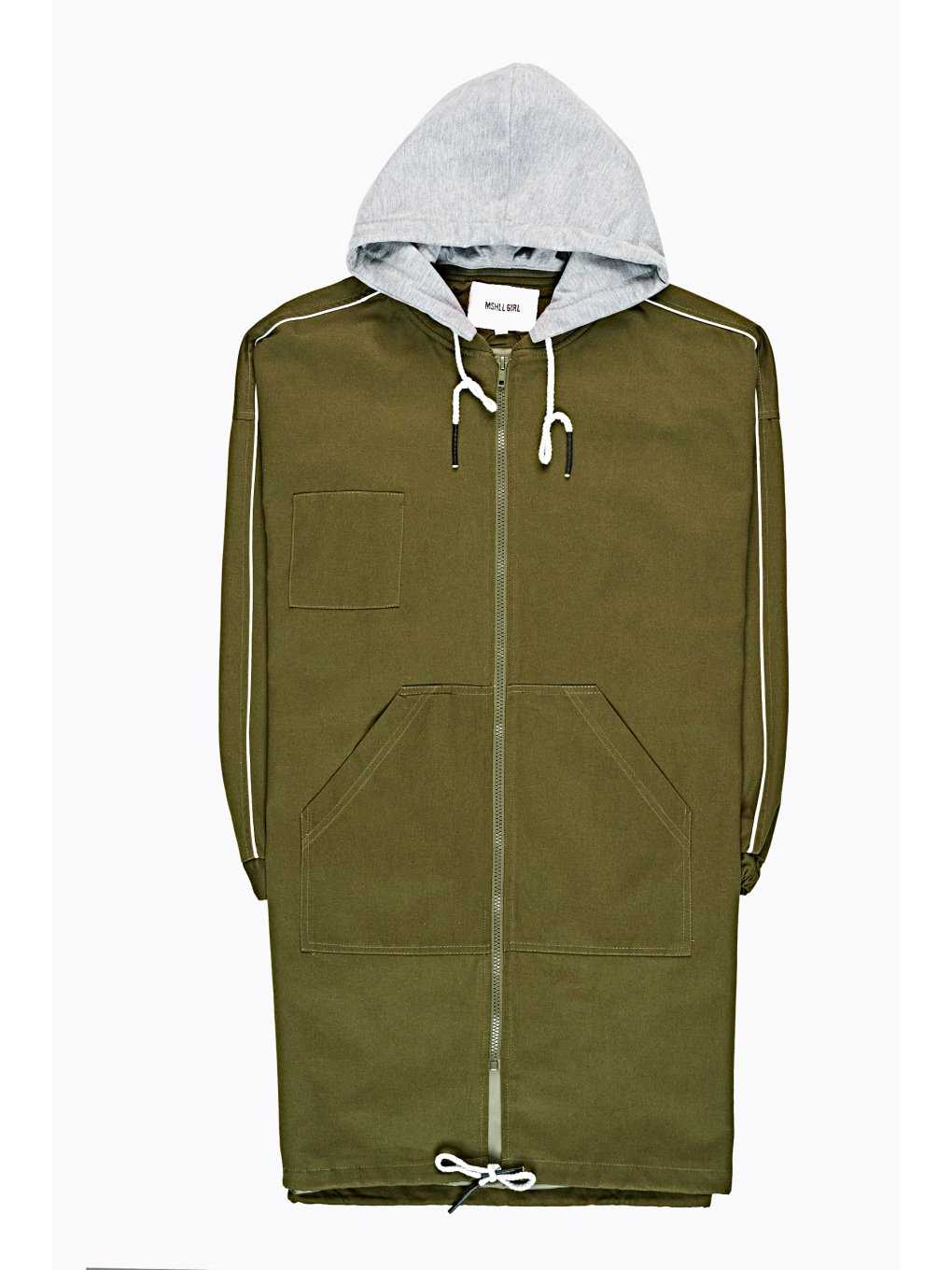 LONGLINE HOODED JACKET WITH MESSAGE PRINT AT BACK