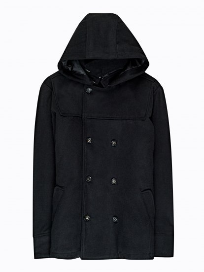 Pea coat with hood