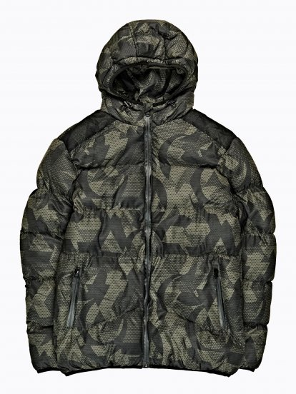 Camo print quilted jacket with hood