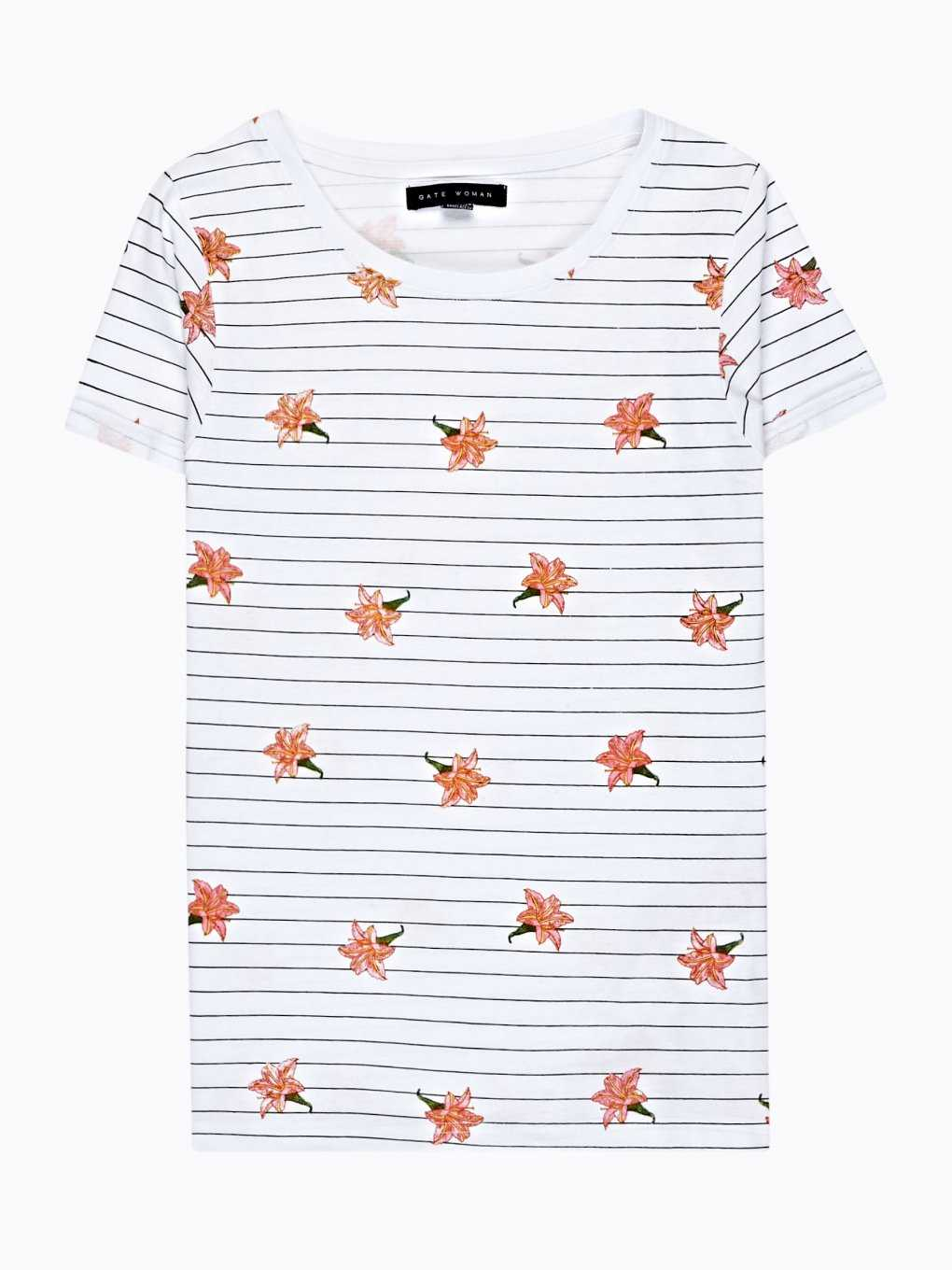 STRIPED T-SHIRT WITH FLORAL PRINT