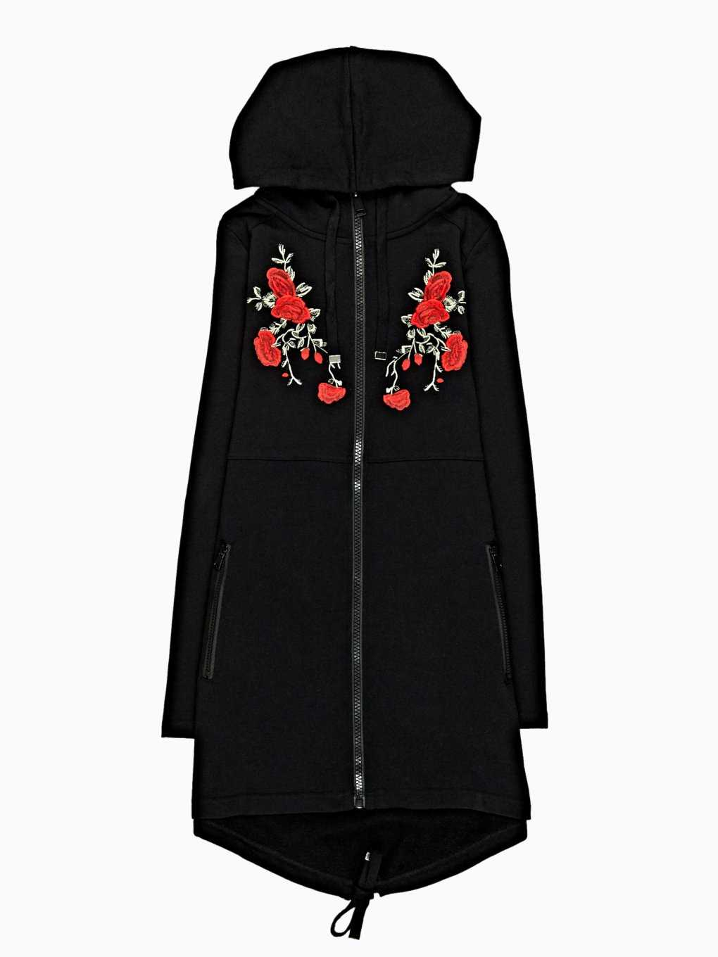 LONGLINE HOODIE WITH FLORAL EMBROIDERY