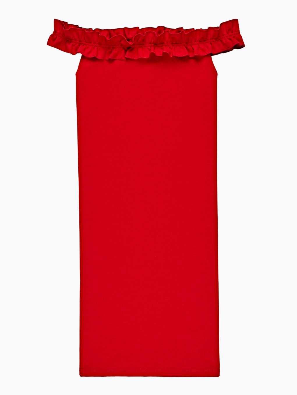 Ołówkowa sukienka z odkrytymi ramionami