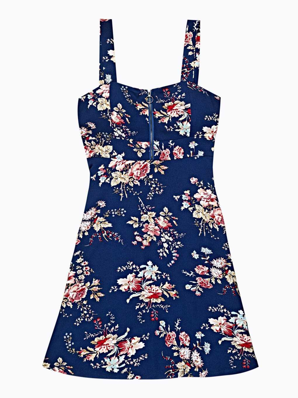 Floral print dress with zipper