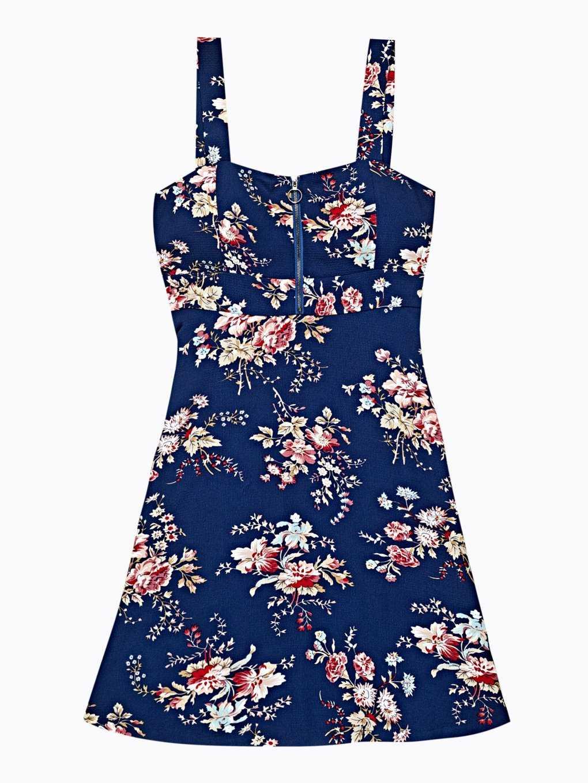 Sukienka z nadrukiem kwiatowym i zamkiem