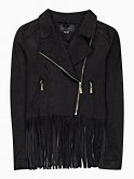 Faux suede biker jacket with tassels