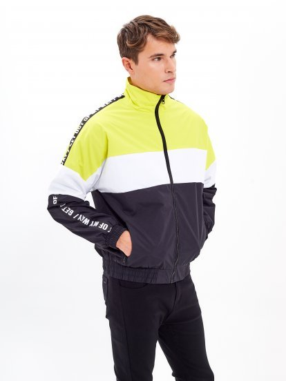 Colour block taped jacket