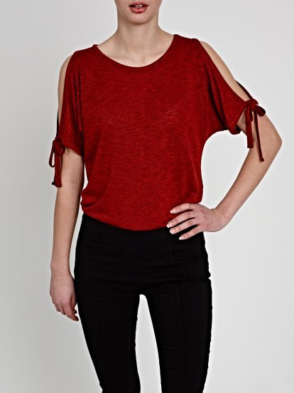 COLD-SHOULDER SHORT SLEEVE JUMPER