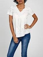 V-NECT EMBRIODERED COTTON BLOUSE