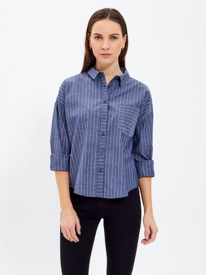 STRIPED SHIRT WITH BACK EMBROIDERY