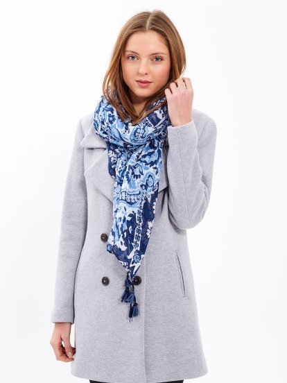 FLORAL PRINT SCARF WITH TASSELS