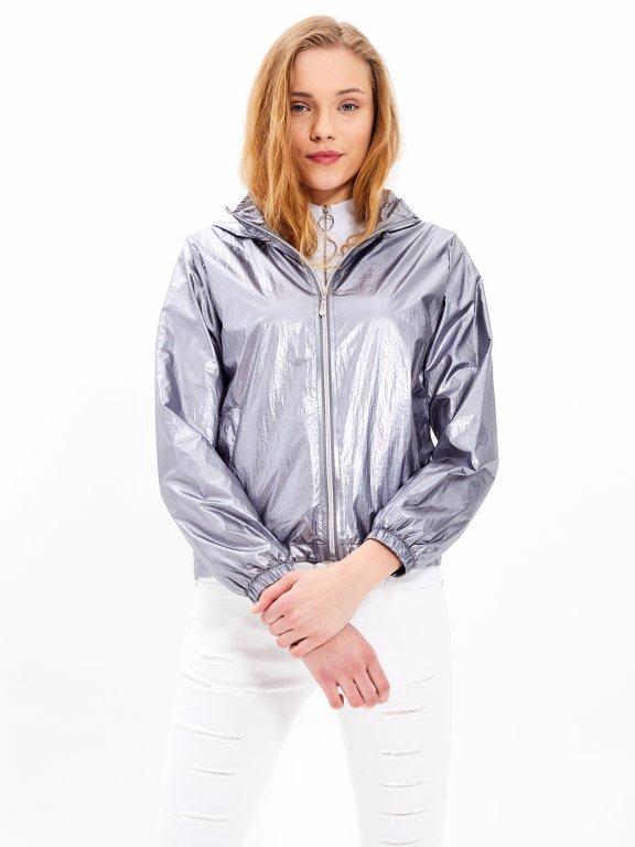 Metalická bunda s kapucí