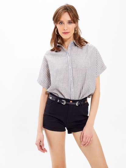 Striped cotton oversized shirt