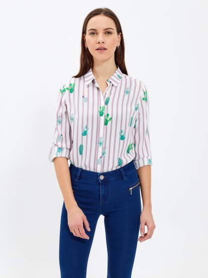 Prúžkovaná košeľa s potlačou