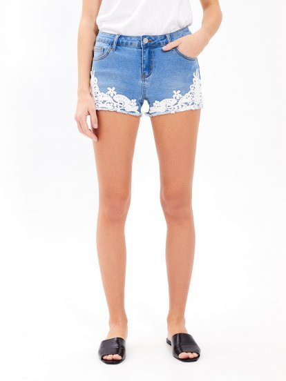 Denim shorts with crochet detail