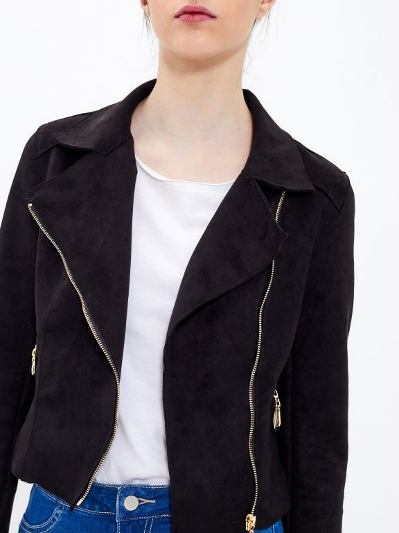 Motorkárska bunda z imitácie semišu