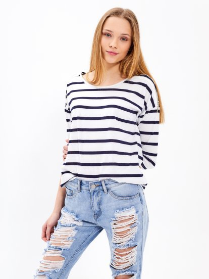Striped top with zippers
