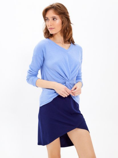 Twist front v-neck jumper