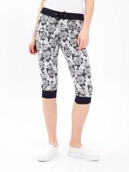 3/4 leg floral printed sweatpants